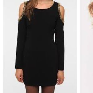 Silence + Noise black dress with gold metallic